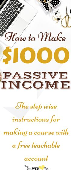 Make Money Online: Create online course with free teachable account. | passive income ideas. Check the step by step tutorial to make money online. http://www.coolwebfun.com/create-online-course-for-free-with-teachable/