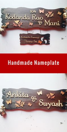 Nameplates for Indian Homes and Flats. Get Custom Name Plates for your sweet home or newly build Flat. These Handmade Nameplates and be Easily Personalized as per need. More Custom Nameplates are available on SPECTRAHUT. Wooden Name Plates, Door Name Plates, Name Plates For Home, Name Board Design, Name Plate Design, Wood Pallet Planters, Room Partition Designs, Ceiling Design Living Room, Clay Wall Art