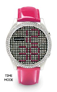"""The Phosphor Appear's watch face offers a time, """"seconds"""" and """"off"""" mode, showing an entire face of Swarovski crystals with no time display."""