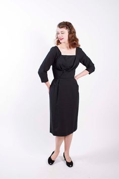1950s Vintage Dress Black Slubby Rayon Blend 50s Vintage Cocktail Dress Size Small