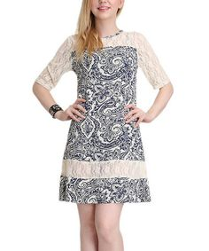 Look at this #zulilyfind! Black & Cream Floral Lace Crewneck Dress #zulilyfinds $29.99, regular 100.00