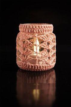 Häkelanleitung Teelichtbezug - New Ideas Crochet Wool, Crochet Doilies, Free Crochet, Crochet Jar Covers, Crochet Decoration, Bottle Bag, Jar Lights, Crochet Projects, Diy And Crafts