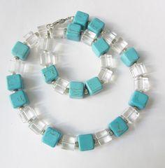 Colliers - Würfelkette Kristall-Türkis-Würfeln - ein Designerstück von soschoen bei DaWanda