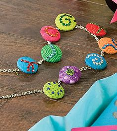 Adorable #DIY Button Necklace --- Find directions for this personalized necklace on Joann.com