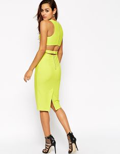 Image 2 of ASOS Textured Clean Cutout Back Body-Conscious Dress