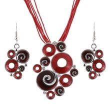 Ženy Nejlepší dárek Ethnic Retro smaltované výrobky africké šperky Soupravy Náhrdelník + náušnice Svatební Soupravy Red Color Crystal Kámen Bijoux (Čína (pevninská část))