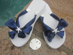 0c475d9b9a94d Flip Flops with Side Satin Bows. See more. Available in ALL colors of  Ribbon. Perfect Beach Wedding for Bride and Bridesmaids. Quality