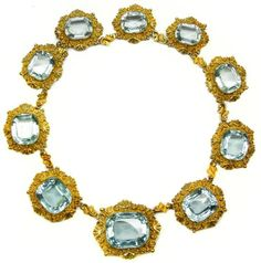 19th century aquamarine and gold necklace, c.1830  , set with ten cushion shaped stones, in bold chased and engraved scroll and shell decorated gold frames, each joined by an S scroll link, approximately 241 cts in all