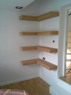 Oak shelves. Custom made. Designed by Elmer ter Berg and made by Keith Reynolds in Zwolle, The Netherlands.