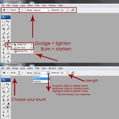 dodge (lighten) and burn (darken) techniques for photos and digital scrapbook pages