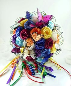 rainbow custom origami wedding bouquet by Lunatiger on etsy.com $100
