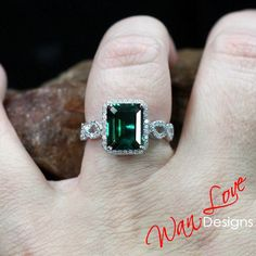 Emerald & Diamond Emerald Halo Infinity Twist Shank Engagement Ring, 3/4 Eternity, Custom,14k 18k Gold, Platinum, WanLoveDesigns