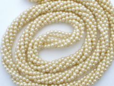 "Vintage Twisted Faux Pearl Necklace 30"" Long Off White Multi 6 Strand Bead 