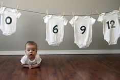 clothesline of month onesies -great baby photo idea. gonna do this when we decide to have a baby Baby Kind, Baby Love, Baby Baby, Children Photography, Newborn Photography, Photography Ideas, Life Photography, Photo Bb, Age Photo