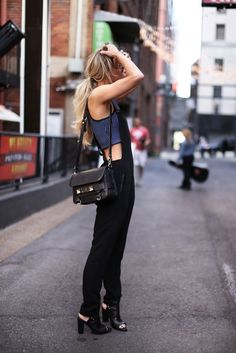 Black stretch overalls and crop tee – a match made in street-style heaven!