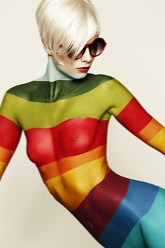 Color stripes body paint by Pia Denker Tv Movie, Portfolio Images, Woman Painting, Painting Art, Pose Reference, Face And Body, Rainbow Colors, Rainbow Art, Female Bodies