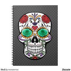 Skull Spiral Notebook #Skull #Skeleton #Holiday #Halloween #Flower #Rose #Spiral #Notebook
