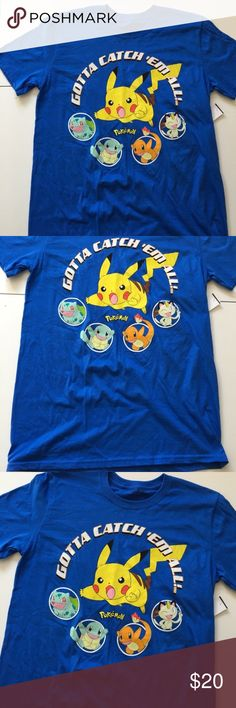NEW Men's Pokemon Blue Short Sleeve Tee Brand: Pokemon  Condition: Brand new with attached tags  MSRP: $20  Size: Medium and Large available  Material: 100% cotton Pokemon Shirts Tees - Short Sleeve