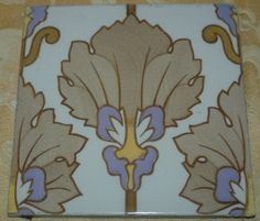 "Antique Art Nouveau 8"" x 8"" Floor/Wall 3 Tiles 1890s England, via Etsy."
