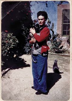 Frida Kahlo's cat feeling shunned as she snuggles a monkey.