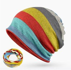 5511631f9dd Mens Striped Skullies Hat Snowboarding Beanie Wear 3 Ways Collar Scarf -  BE0003
