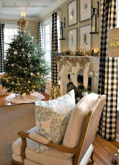 Buffalo Check Curtains, Color Scheme... Wall color with curtains, chair, art, and even holiday stockings/decor is classy & warm.