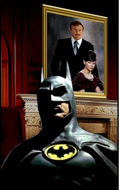 Keaton's Batman with Adam West and Yvonne Craig as Thomas and Martha Wayne