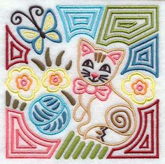 Cat Kitten mola square  embroidered quilt by RockyMountainstitch, $5.50