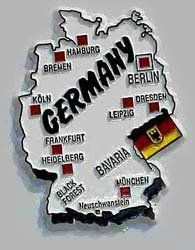 """Germany - Magnet by Flagline. $2.75. Country Magnets. Approximately 2"""" to 3"""". Our magnets are shaped in the country's outline, with a flag and highlighted major cities."""