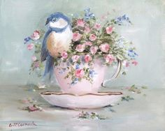 Bird in tea cup - Gail Mccormack Tea Cup Art, Tea Cups, Bird Pictures, Vintage Pictures, Shabby Chic Kunst, Tee Kunst, Illustration Blume, Bird Art, Vintage Flowers