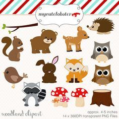 Woodland Clipart Set - clip art set of woodland animals, trees, mushrooms - personal use, small comm Forest Animals, Woodland Animals, Image Deco, Forest Friends, Woodland Creatures, Sea Creatures, Animal Faces, Woodland Party, Woodland Nursery