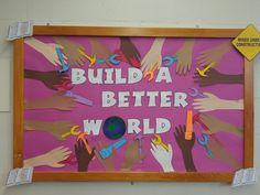 World Bulletin Board, Preschool Bulletin Boards, Preschool Classroom, Future Classroom, Preschool Ideas, Kindergarten, Build A Better World, Summer Reading Program, Colors For Skin Tone