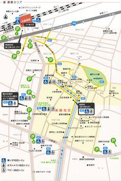 倉敷・美観地区エリアマップ | 倉敷観光WEB City Layout, Area Map, Map Design, How To Plan, Image, Japan, Illustration, Illustrations, Japanese