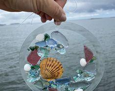 Free Shipping White Frame with Shells and Beach Glass | Etsy Seashell Picture Frames, Beach Ornaments, Mermaid Beach, Sea Glass Beach, Barn Wood Frames, Wood Detail, Seashell Crafts, Suncatchers, Beach House
