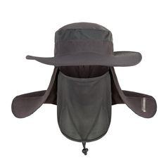 High-quality Men Women Mesh Outdoor UV-proof Bucket Caps Windproof Fishing Neck Face Flap Flat Hat - NewChic Mobile.