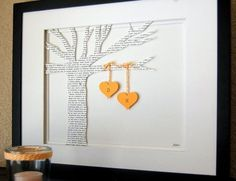 diy wedding gift- super cute! Tree with heart initials hanging from branches.