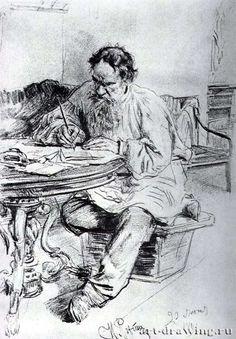 "Ilya Repin ""L. Tolstoy, the writer of the round table at Yasnaya Polyana, ""1891"