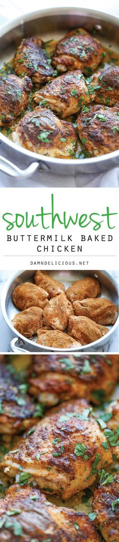 Southwest Buttermilk Baked Chicken - flavorful chicken baked to absolute crisp-tender, juicy perfection! 207 calories each. Turkey Dishes, Turkey Recipes, Meat Recipes, Chicken Recipes, Cooking Recipes, Recipies, Vegetarian Recipes, I Love Food, Good Food