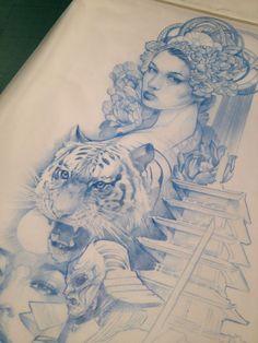 Neo Japanese tattoo sleeve design - www.n9ne.co.uk