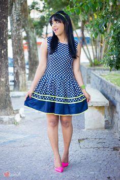 Vestido azul de poá - Blog da Maanuh
