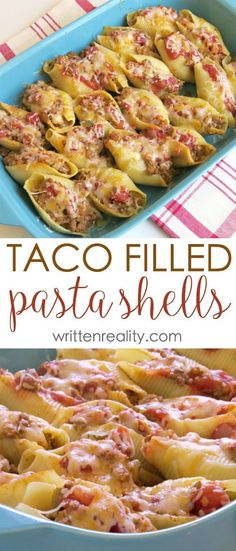 Taco Filled Pasta Shells Recipe This recipe for taco filled pasta shells is an . Taco Filled Pasta Shells Recipe This recipe for taco filled pasta shells is an easy one. It's the perfect meal idea for busy weeknights t. Top Recipes, Easy Dinner Recipes, Mexican Food Recipes, Beef Recipes, Easy Meals, Cooking Recipes, Healthy Recipes, Recipes For One, Dining