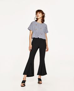 ZARA - WOMAN - EMBROIDERED STRIPED TOP