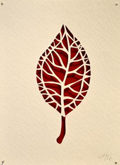 Heather Clements Art: Red Leaf - New Paper Cut Display