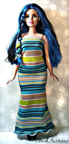 Handmade Curvy Barbie Doll Dress  Colorful by OzarkFashions