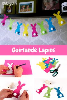 Easter Bunny Garland - Easter - 10 Fingers - A bunny garland easy to make An activity to do with children during the Easter holidays. Arts And Crafts Storage, Diy Arts And Crafts, Craft Storage, Diy Crafts, Bunny Crafts, Easter Crafts, Toddler Crafts, Crafts For Kids, Do It Yourself Crafts