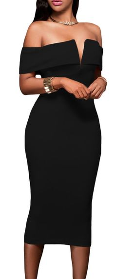 Off Shoulders Decollete Split Midi Bodycon Dress
