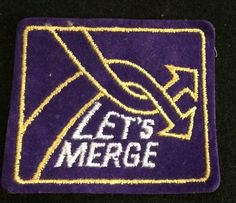 LET'S MERGE Skiing Ski Snowboard Patch Souvenir Travel Humor Funny Vintage