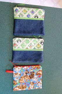 recycled denim zipper bags