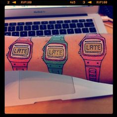 YOU'RE LATE Temporary Tattoos! haha these would be funny xmas gifts to family members that are ALWAYS late!