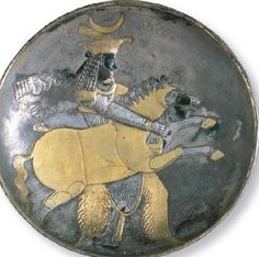Plate with the prince of the Sasanian Material: silver gilt Diameter: 30 cm Fourth or fifth century AD Miho Museum Miho Museum, Western World, Archaeology, Iran, Plates, Horses, History, Prince, Vintage